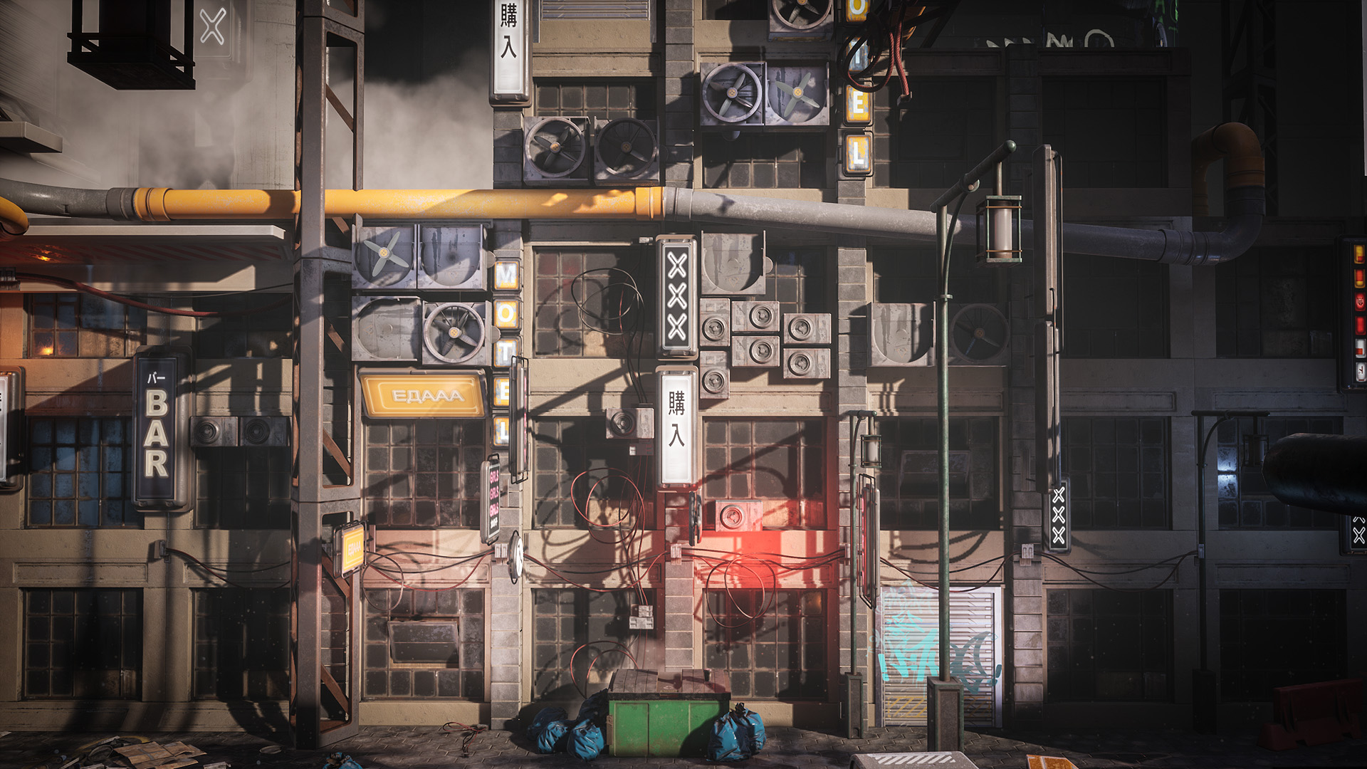 Cyberpunk Environment Kitbash Set by Denys Rutkovskyi in