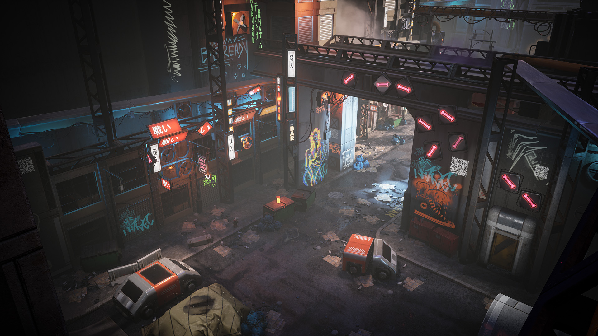 Cyberpunk Environment Kitbash Set by Denys Rutkovskyi in