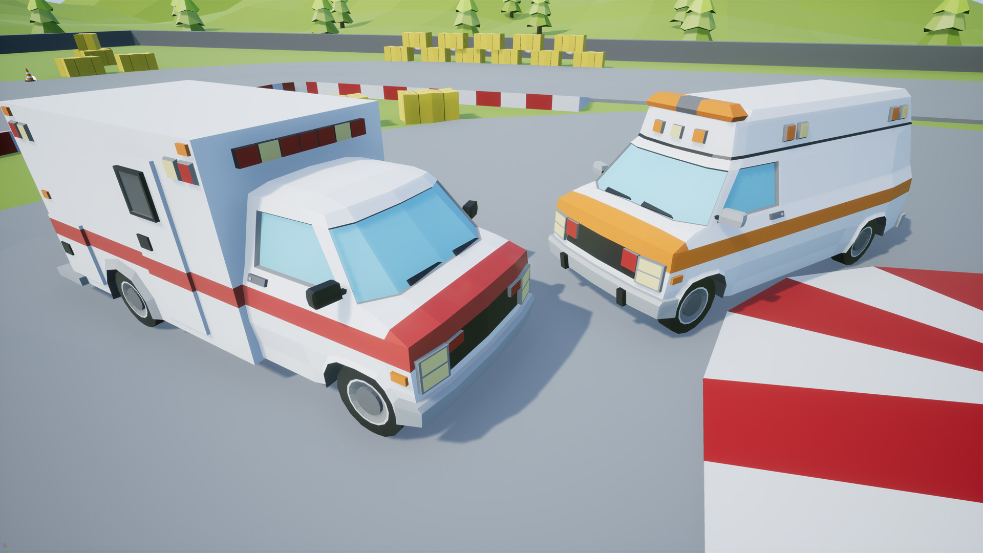 Low Poly Vehicles Ambulance Pack 4 by SuburbiaGames in Props