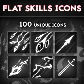 Set of 100 flat icons. All of them are in greyscale (you can easly change colors if you want to).  Will work great with mobile type of games as well as game for PC.  Size: 512 x 512 px