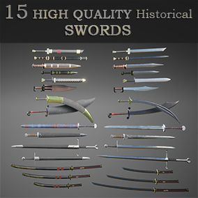 15 High quality historical swords, based on 7 popular civilization & all with their scabbards.