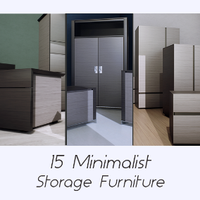 A collection of 15 Elegant and Minimalist Storage Furniture Models (3 Sets) that are optimized for Archviz