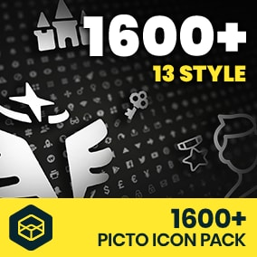 +1600 Picto Icon Pack is icon asset to make your own games.