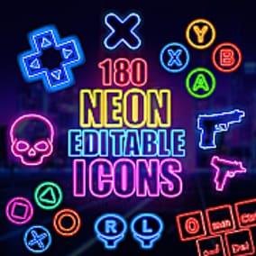 180 Neon Graphics - UI/Icons - Retro/Cyberpunk/Disco Style (Fully Editable PSD Custom Shape Vector Base)