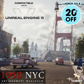 1950s New York City Environment Megapack with Interiors , Characters and Vehicles more than 1150 Assets