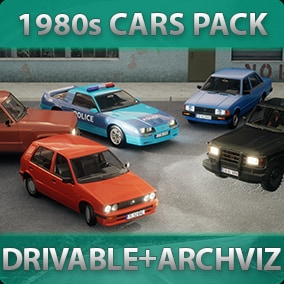 Five 1980s-styled driveable Cars with customizable materials, decals, lights, sound, and passengers for games or archviz