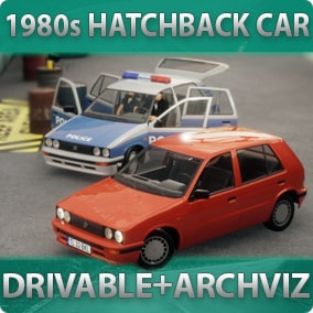 1980s-styled driveable Hatchback Car with customizable materials, decals, lights, sound, passengers for games or archviz
