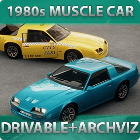 1980s-styled driveable Muscle Car with customizable materials, decals, lights, sound, passengers for games or archviz