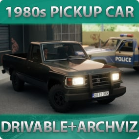 1980s-styled driveable Pickup Car with customizable materials, decals, lights, sound, passengers for games or archviz