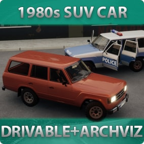 1980s-styled driveable SUV Car with customizable materials, decals, lights, sound, passengers for games or archviz