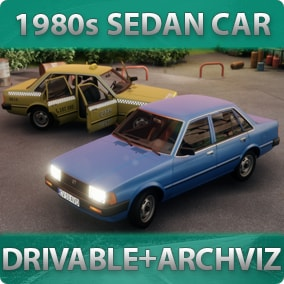 1980s-styled driveable Sedan Car with customizable materials, decals, lights, sound, passengers for games or archviz