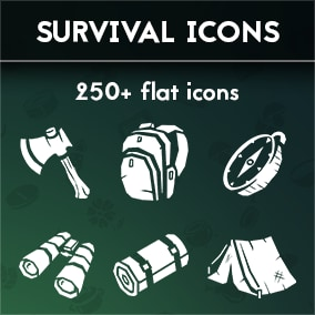 Set of 257 survival themed flat icons. Will work great with mobile type of games as well as game for PC.  Size: 512 x 512 px