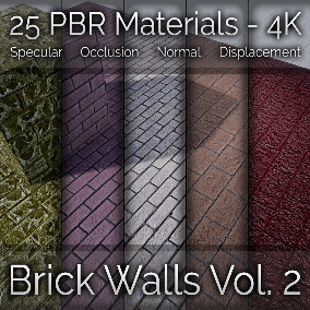 25 Brick Wall Materials - PBR 4K - Vol 2