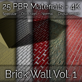 25x Brick Wall Vol. 1 Seamless 4K PBR Materials