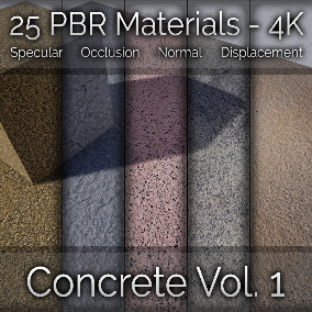 25x Concrete Vol. 1 Seamless 4K PBR Materials