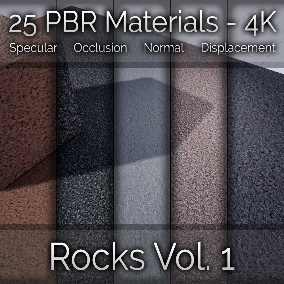 25x Rock Vol. 1 Seamless 4K PBR Materials