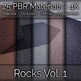 25x Rock Vol. 1 Seamless 4K PBR Materials