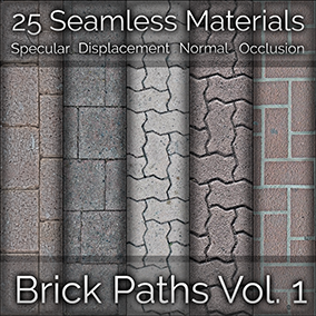 25x Brick Path Seamless 4K PBR Materials