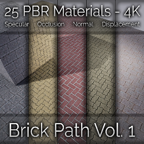 25x Brick Path Vol. 1 Seamless 4K PBR Materials