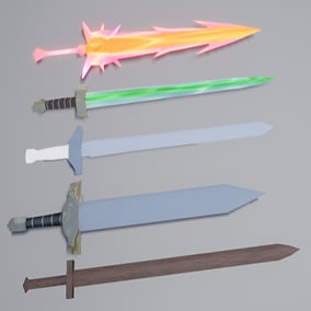 There are 288 swords here. It contains many kinds, such as wood, metal, color or gradient, emissive. Simple inventory. Left click equipment sword. The data table stores information about the swords.