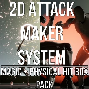 Simple combat system with Hit Box, for physical fighting and magic spell casting in 2 dimensional game, easy to install, create Blueprint Child or add Actor Component to your character, then, configure macro attacks and play.
