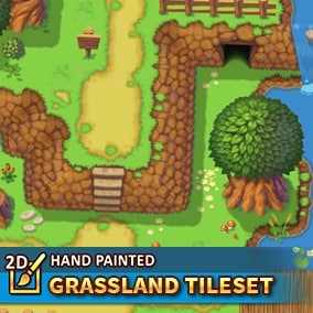 A high-resolution tileset package in a topdown perspective. 128x128 hand painted tiles to create your grassland level.
