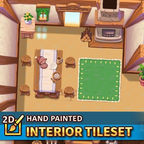 A high-resolution tileset package in a topdown perspective. 128x128 hand painted tiles to create your Interiors.