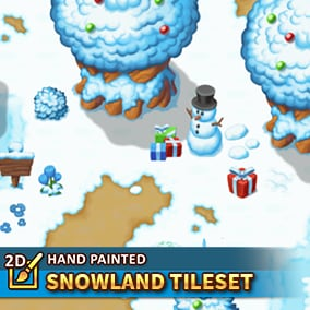 A high-resolution tileset package in a topdown perspective. 128x128 tiles hand painted for you to create winter worlds.