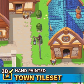 A high-resolution tileset package in a topdown perspective. 128x128 hand painted tiles to create your towns.