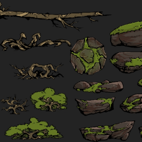 A small pack of stylized trees and stones sprites.