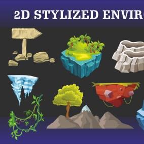 68 2D Cartoon Style Ennvironment Pack