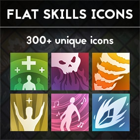 Pack of 323 flat skills icons. Pack include two types of icons: with colored background and black&white versions of each. Will work great with mobile type of games as well as game for PC.