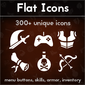 Pack of 332 flat icons suitable for inventory, abilities, armor, menu buttons, statuses, UI. Will work great with mobile type of games as well as game for PC.
