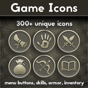 Pack of 332 flat icons (+ armor, menu buttons, bottles icons without background) and one empty background.  Will work great with mobile type of games as well as game for PC.