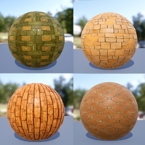 Package of 30 stylized PBR materials (23 Tiles + 7 Wood)