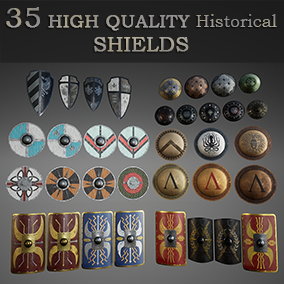 35 High quality historical shields, based on 6 popular civilization (with skin variations).