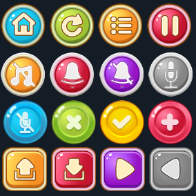 More than 3600 cartoon buttons assets pack.