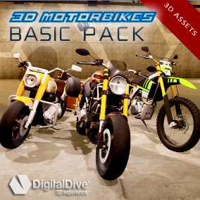 3 detailed motorbikes (Enduro, Naked, Custom), each one with 2 LODs and fully rigged.