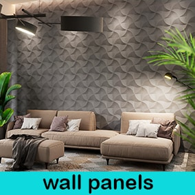 highly optimized 3d wall panels and materials with 2k normal maps