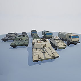 3 Military Vehicles: Tank, APC, Truck; with 3 camos: Desert, Forest and Grey