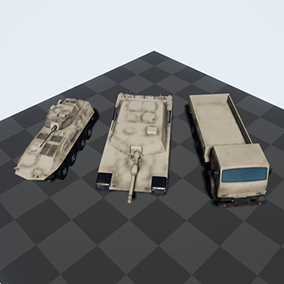 3 Military Vehicles: Tank, APC, Truck; with 2 camos: Desert and Forest