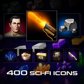 This asset contains 408 Sci-Fi icons. It includes Skill, Armor, Weapon, Resources, Avatars, and many other icons. Suitable for RPG, card, strategy games on the Sci-Fi and cosmic themes etc.
