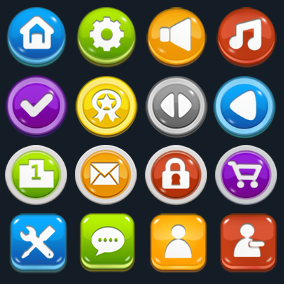 More than 4200 common cartoon buttons assets pack.