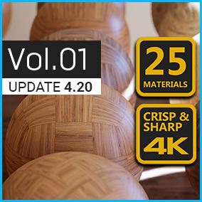 4K Materials: Wood Flooring contains 25 customizable PBR wood flooring materials with 4K textures. Also ideal for ArchViz & VR.