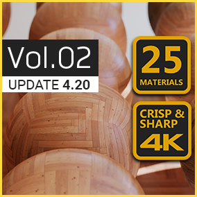 4K Materials: Wood Flooring Vol.02 contains 25 customizable PBR wood flooring materials with 4K textures. Also ideal for ArchViz & VR.