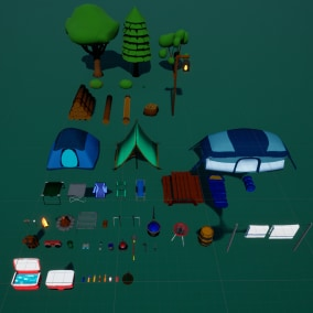A collection of 53 Stylized LowPoly Camping Assets