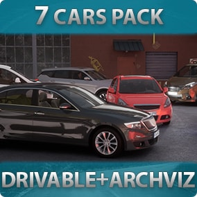 7 Driveable Cars with customizable materials, decals, lights, sound, passengers for games or archviz