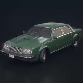 Drivable sedan with damage morph targets, lights, dirt and more.