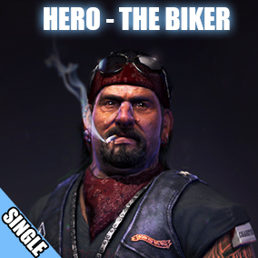 Hero character model of a gritty biker gang member