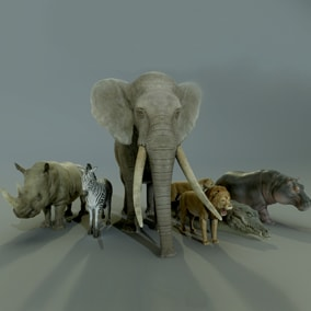 This pack includes a set of 7 African animals ready to populate your savanna or jungle environment.